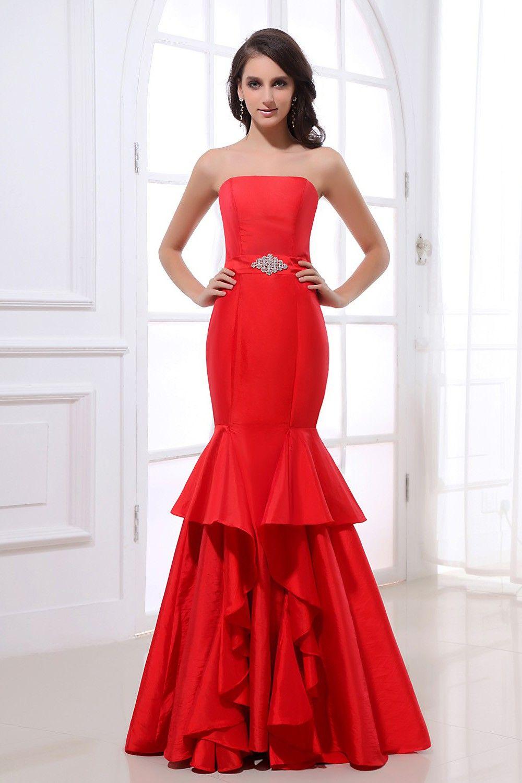 Romantic red satin floorlength mermaid dress prom dresses
