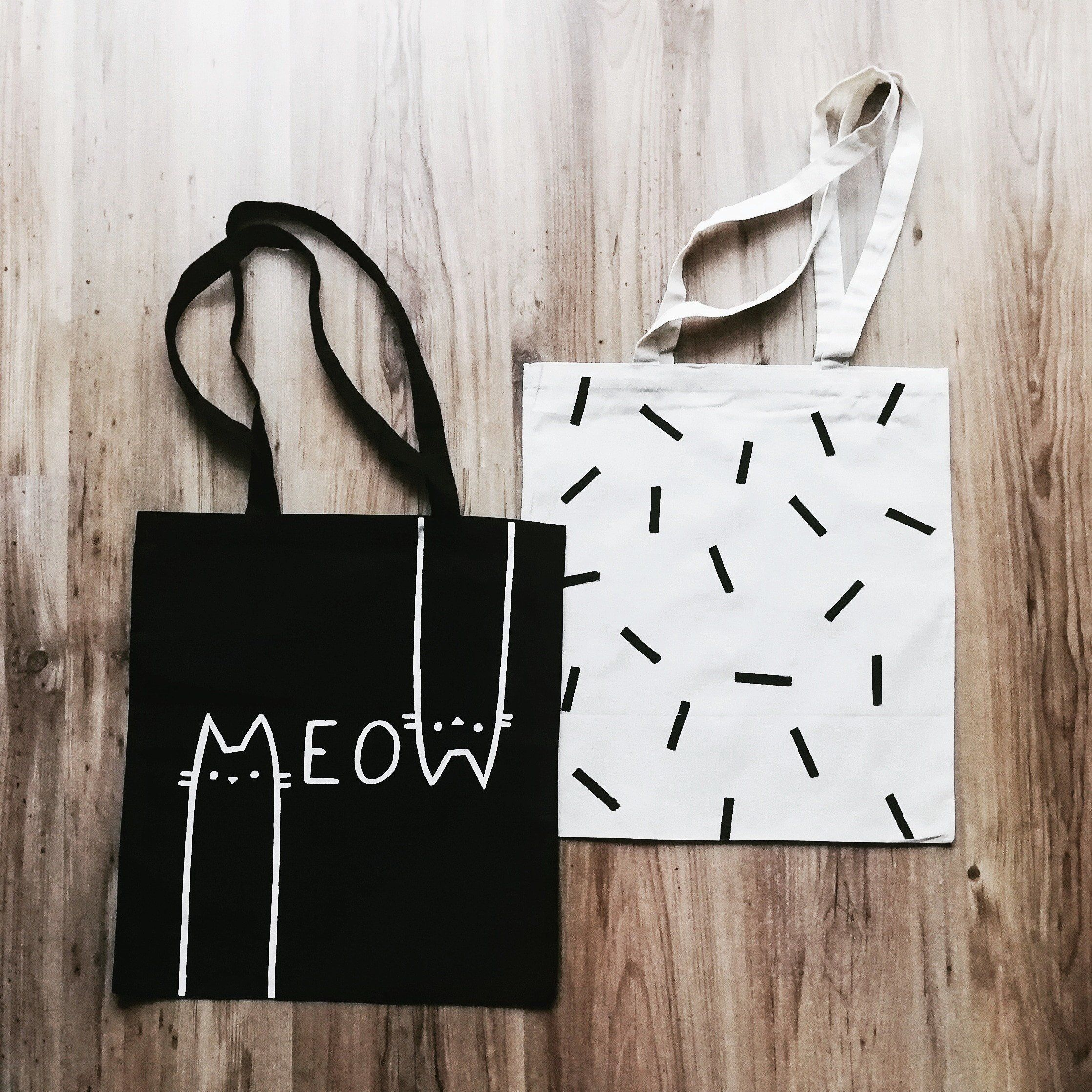 Meow cat purse hand painted cotton eco tote bag