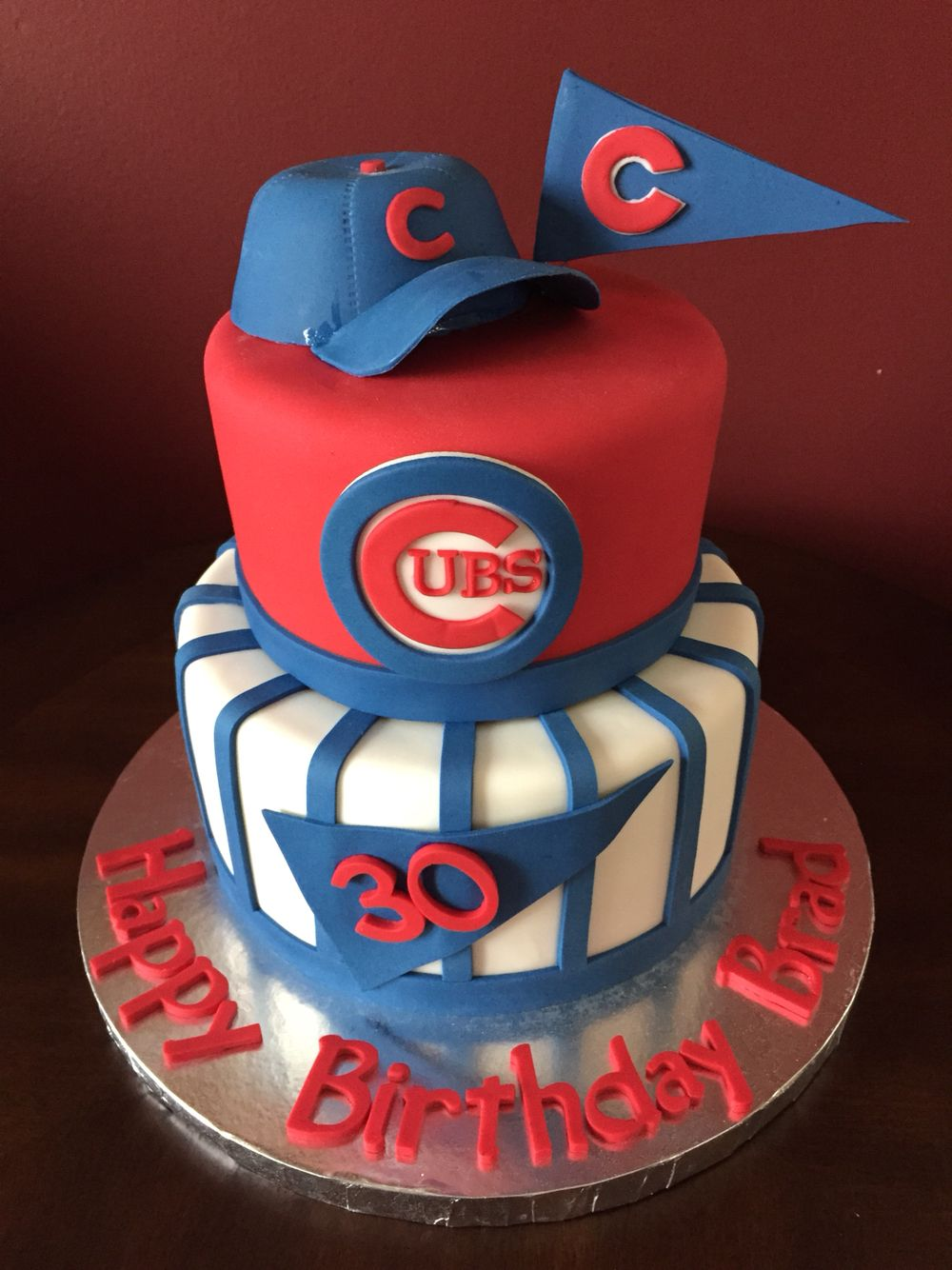 Marvelous Chicago Cubs Baseball Birthday Cake Cubs Birthday Party Chicago Personalised Birthday Cards Petedlily Jamesorg