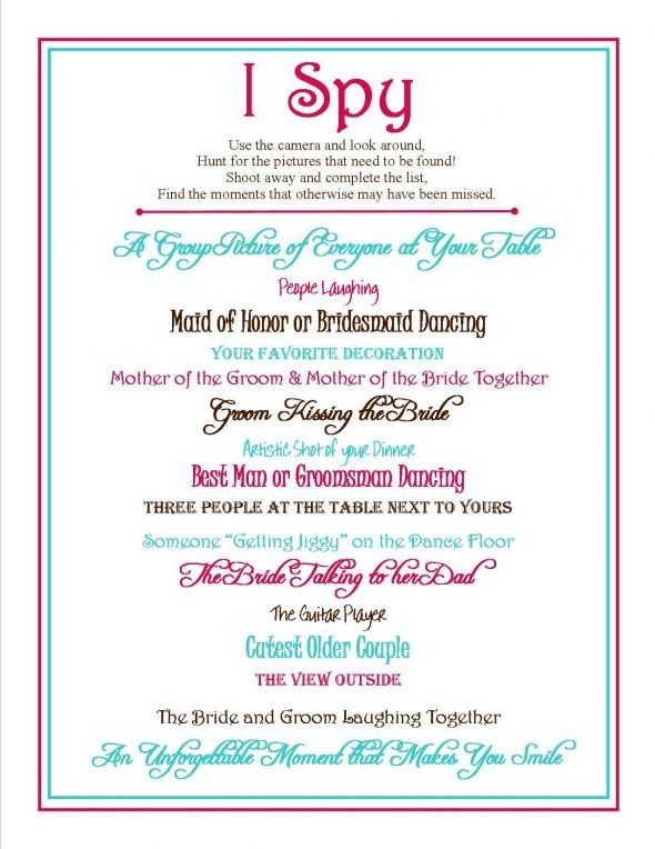 I Spy Link to Template Works Now  wedding i spy signage camera - bridal party list template