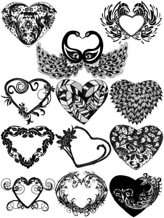Hand Drawn Heart Vector and Brush Pack02