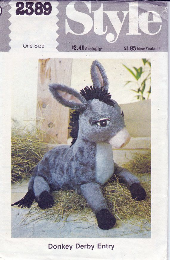 Vintage 1970s Sewing pattern Retro Stuffed Toy Donkey Style 2389 ...