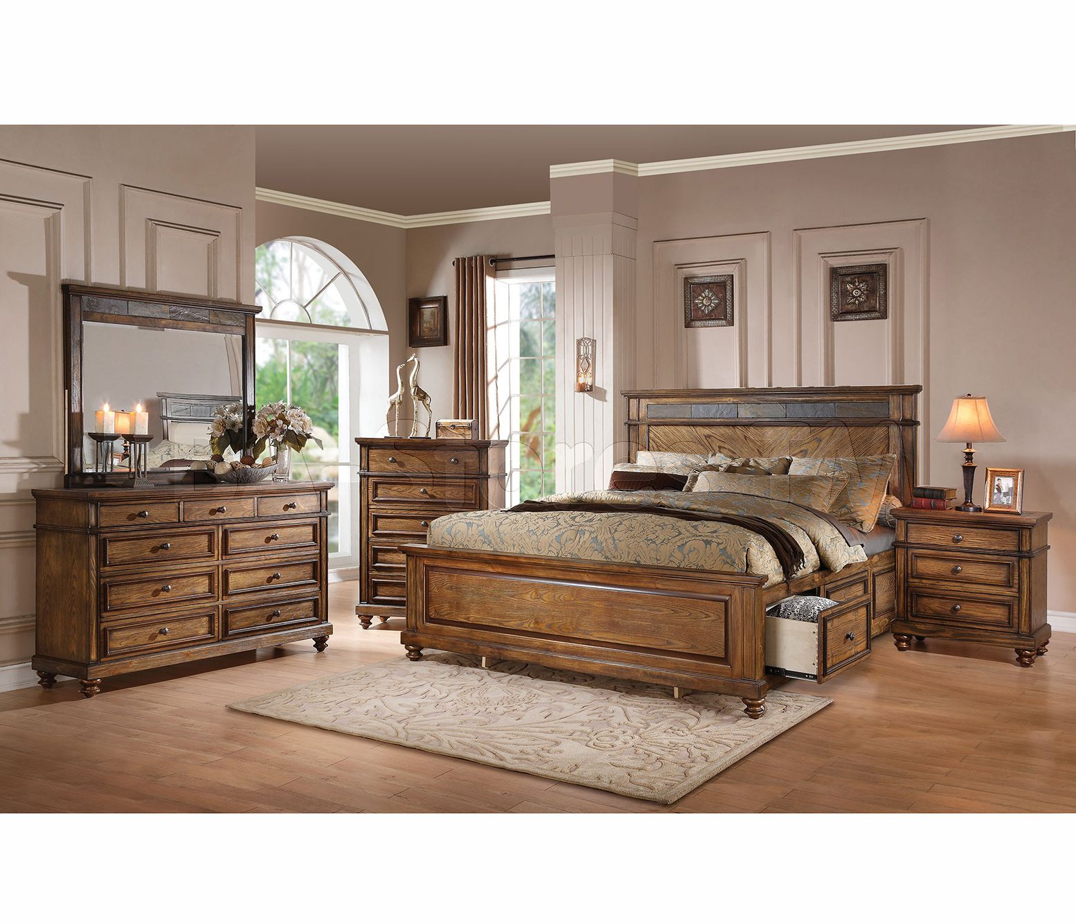 Elegant wood modern master bedroom set feat wood grain cincinnati ohio - Largest Bedroom Sets Collection A Rich Oak Finish Of The Bedroom Set Creates A Warm And Lovely Ambience In Your Space