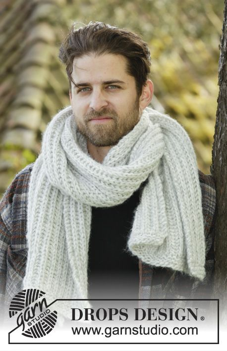 Knitted DROPS men\'s scarf in English rib in 2 strands Air. DROPS ...