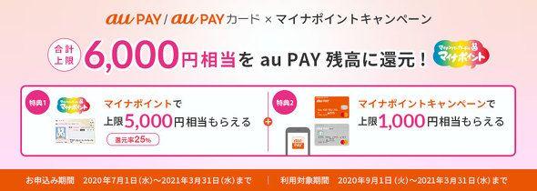 ITmedia 総合記事一覧: [ITmedia Mobile] au PAY7月1日にマイナポイント申込開始1000円相当の還元キャンペーンも