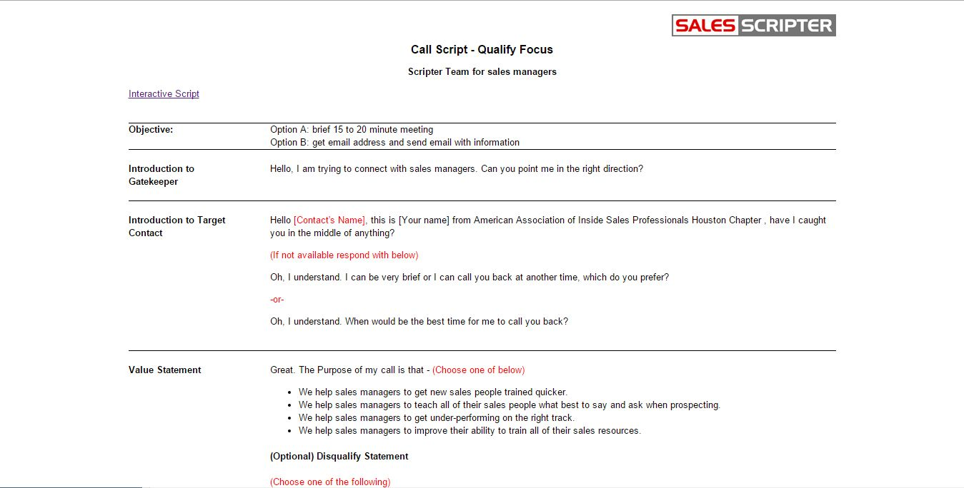 How To Structure A Sales Call Template  Salesscripter  Sales