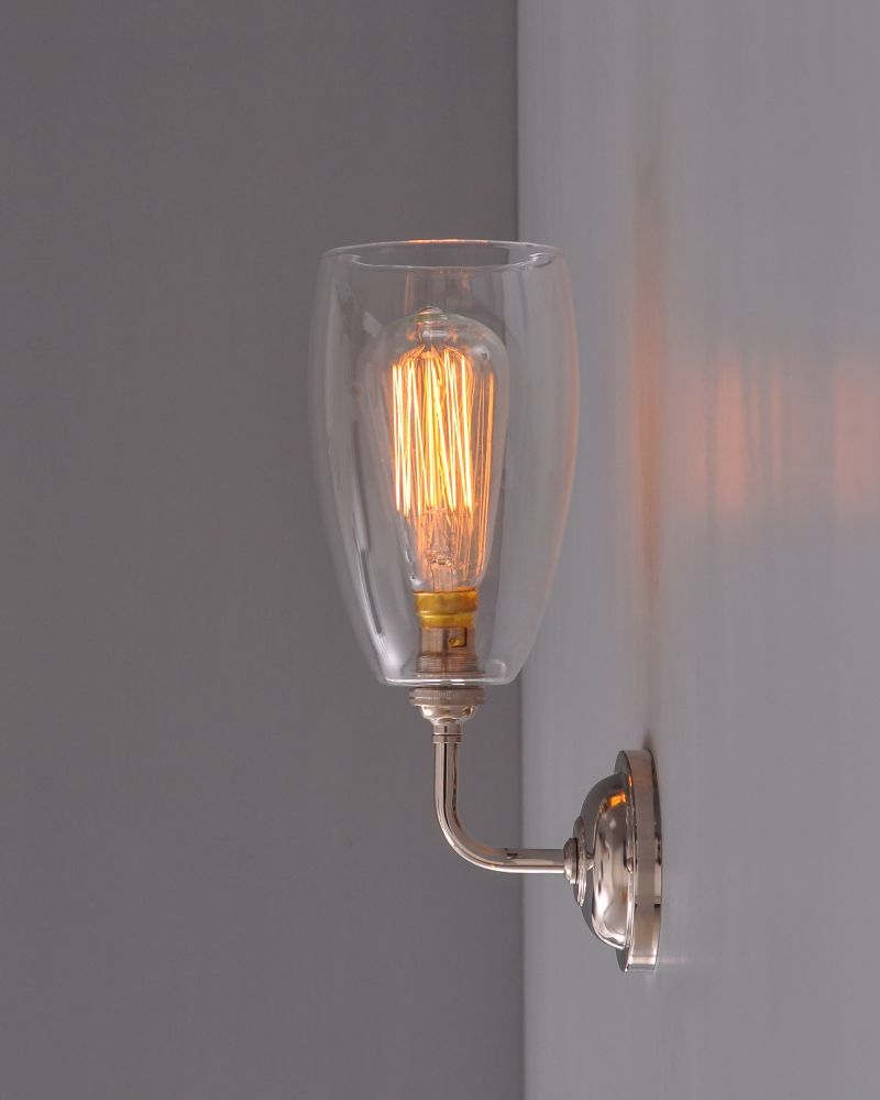 wall light with upton glass shade this lovely simple wall bracket is entirely made