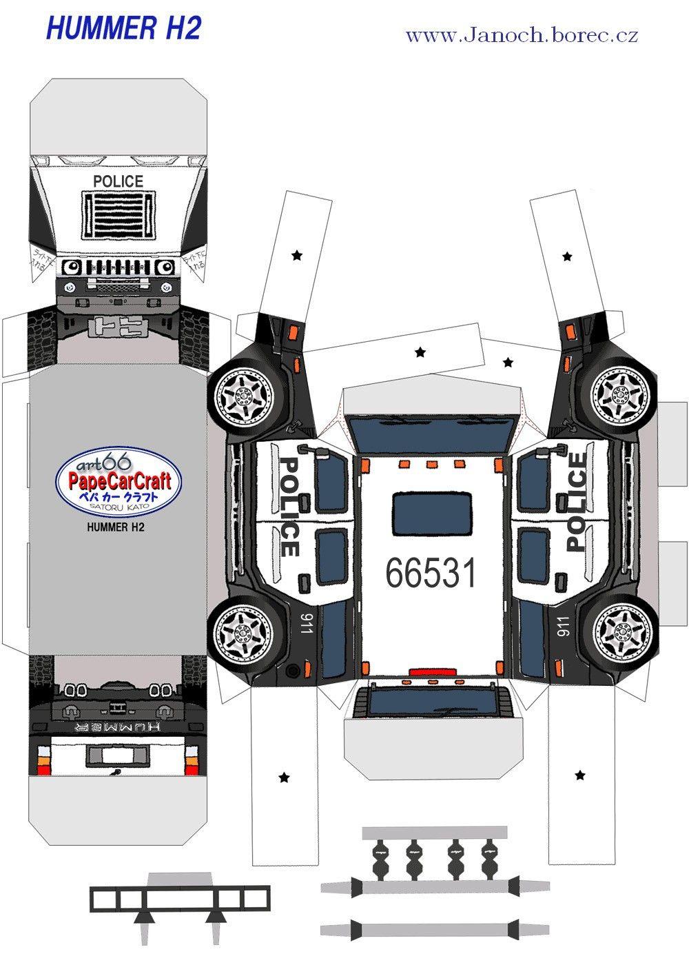 Policie Hammer H2 Paper Model Car Paper Toys Hummer H2