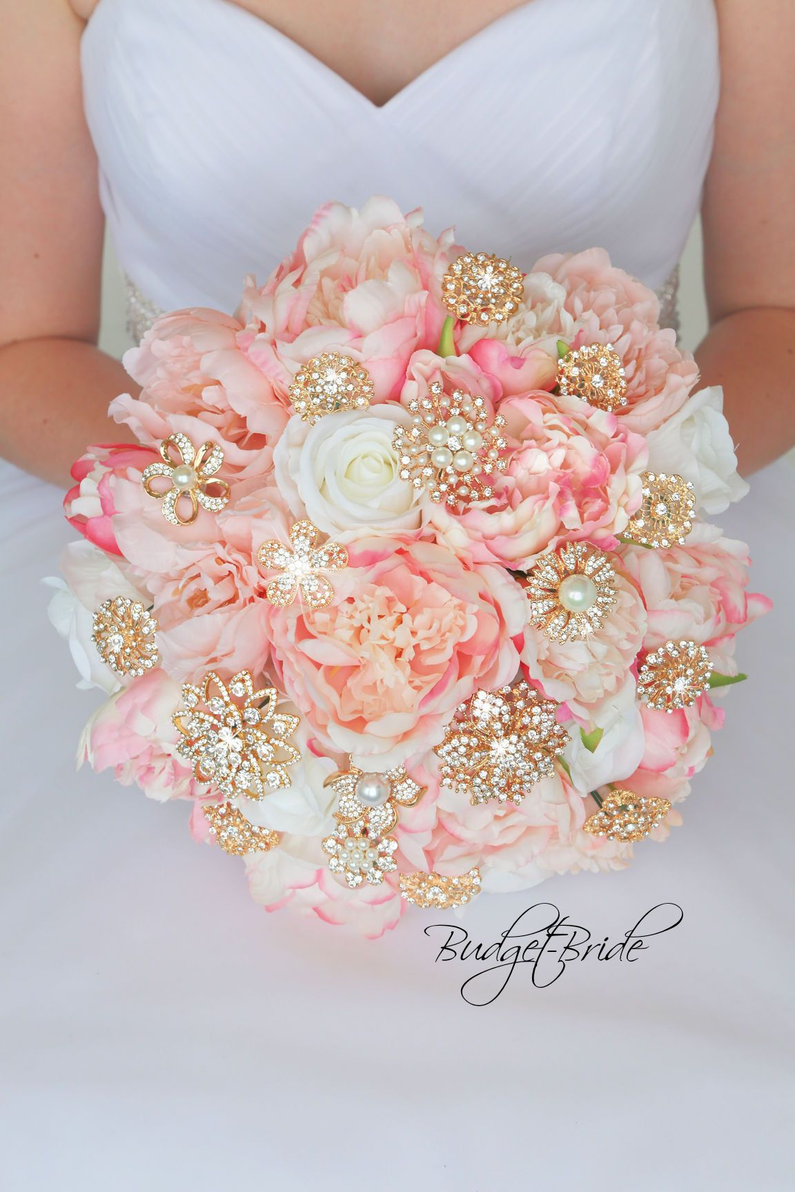 Gold and Blush Davids Bridal Wedding Bouquet with brooches | Pink ...