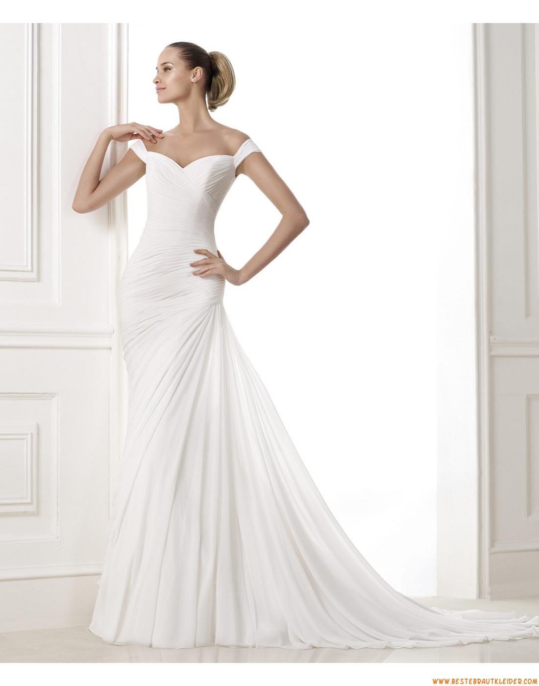 2015 Schlichte Moderne Preiswerte Brautkleider aus Chiffon ...