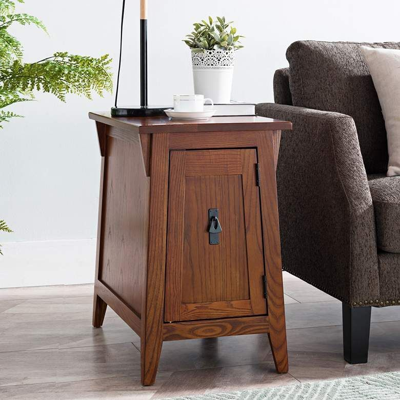 "Leick 15"" Wide Russet Finish Mission Style End Table"