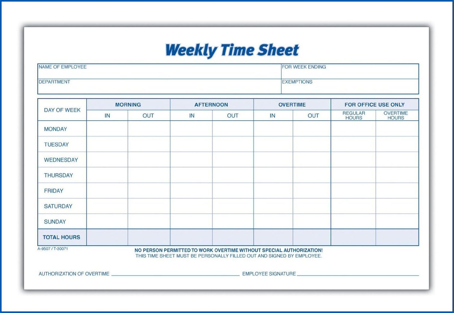 Free 4 Samples Of Weekly Employee Timesheet Template With