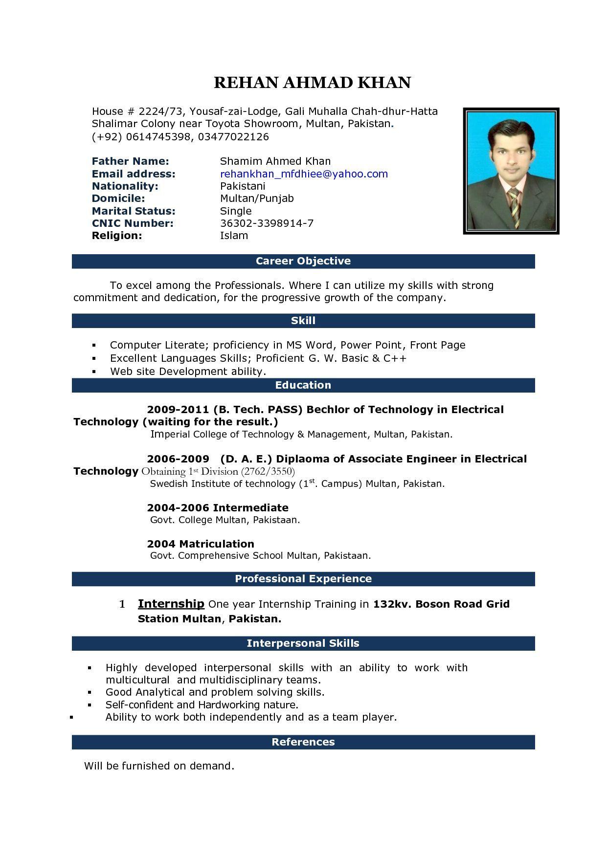 Image Result For Fresher Resume Format Download In Ms Word Desktop