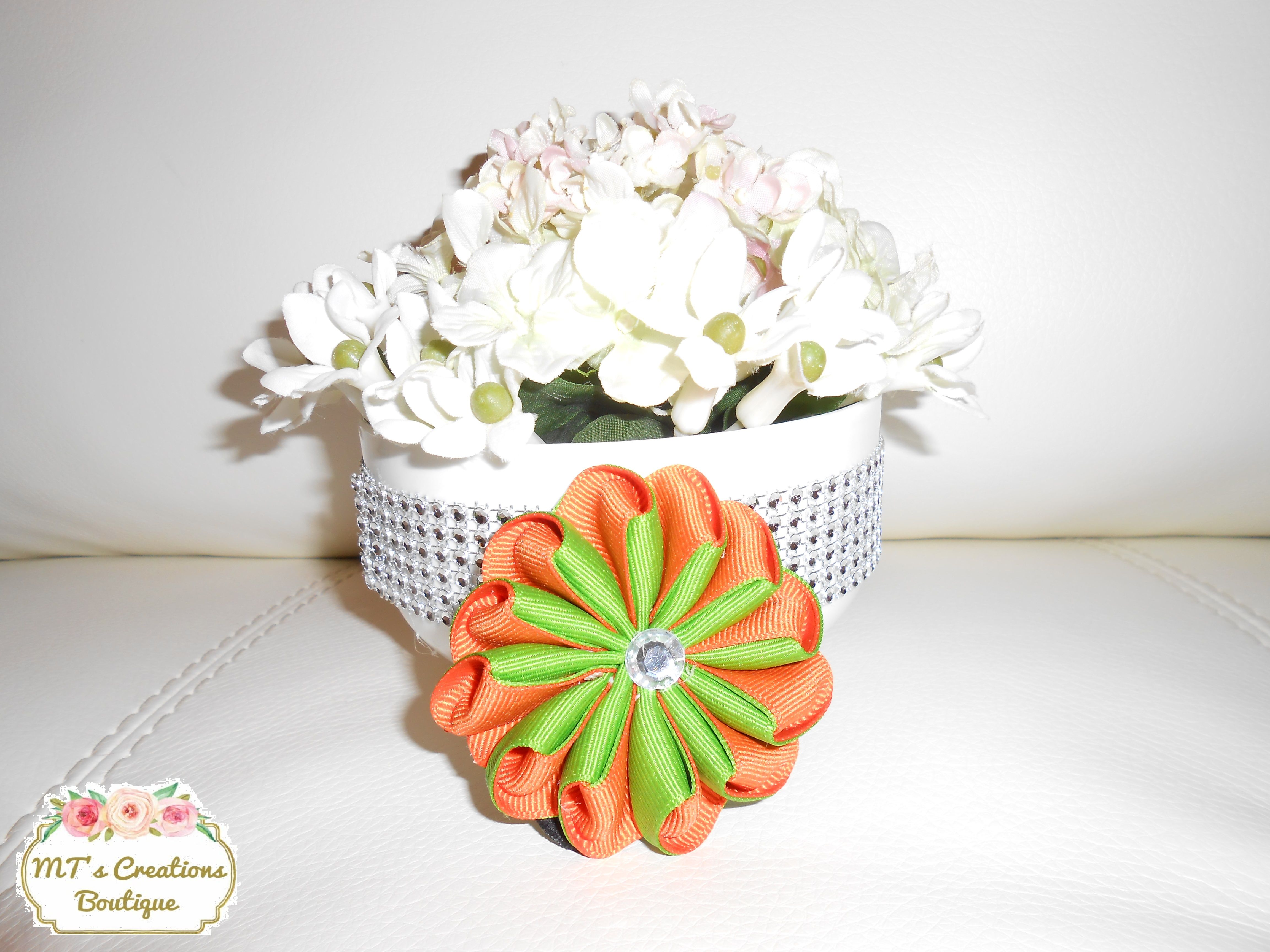 D Bicolor Orange and Green Orgami Flower Hair Tie  Check it out on