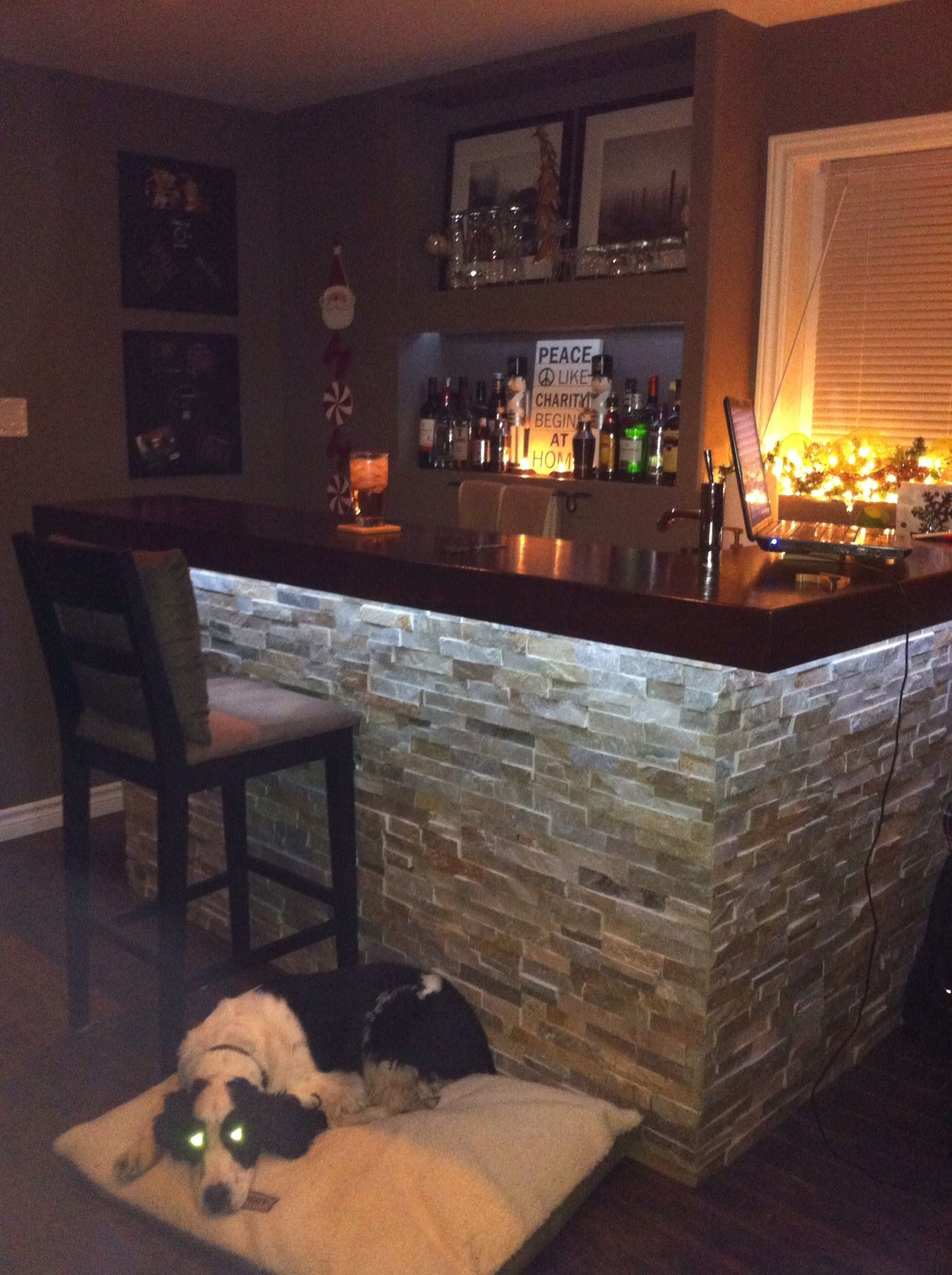 bar lighting ideas. i like the under bar lighting and built in cove for liquor ideas