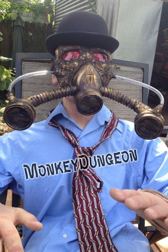 Post apocalyptic steampunk metallic gas mask by MonkeyDungeon, $174.99