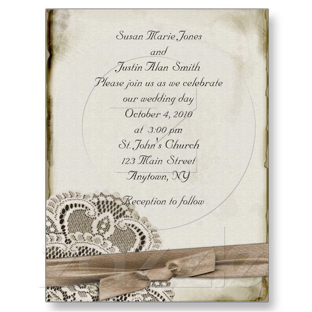 Vintage Wedding Invitation Postcard | Vintage wedding invitations ...