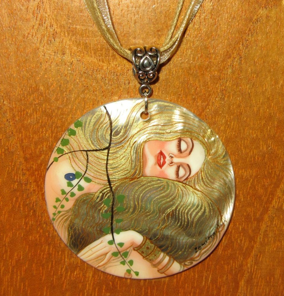 Genuine Russian hand painted SHELL pendant G. KLIMT Water Serpents I MERMAID ART