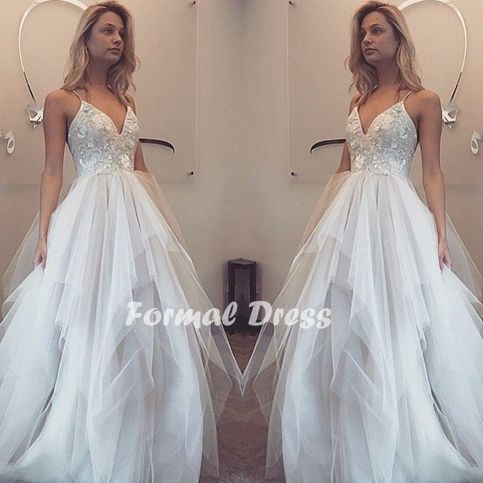 White prom dress,A-line V-neck tulle long prom dress,formal gown sold by Formal  Dress. Shop more products from Formal  Dress on Storenvy, the home of independent small businesses all over the world.