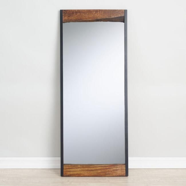 Large Walnut Brown Wood Leaner Mirror With Live Edge V1