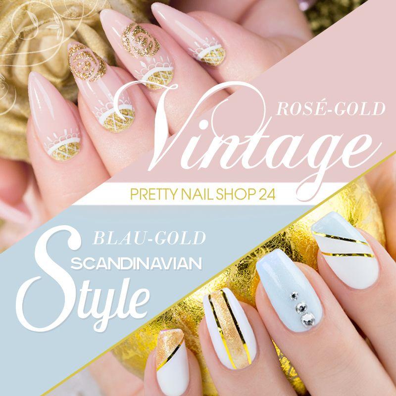 #gold   #rose  #blue #vintage   #nails   Gold-Rosé mit filigranem Schnörkelmuster a la Vintage-Design oder Gold-Blau im grafischen, kühlen Scandinavian-Look - verrätst Du uns Deinen Favoriten? Martina