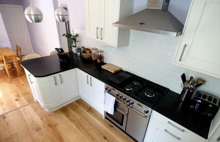 cuisine blanche avec plan de travail noir 73 ides de relooking archzinefr - Cuisine Blanche Avec Plan De Travail Bois