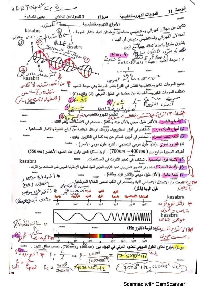 الفيزياء شرح الأمواج الكهرومغناطيسية للصف الثاني عشر Bullet Journal Journal