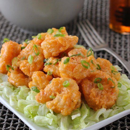 Crunchy Spiced Shrimp, aka Bang Bang Shrimp. Great as an appetizer or as an entree.
