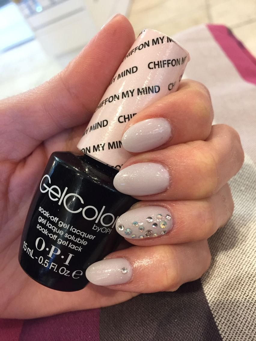 Opi Chiffon My Mind Gel Polish Mani On Oval Nails With Opalescent Crystals
