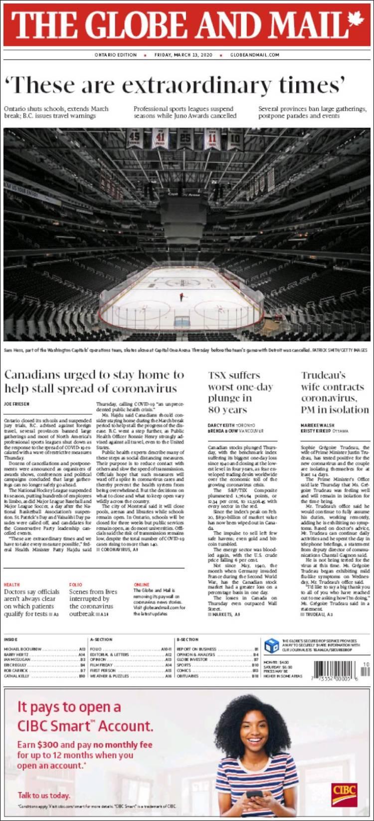 Periódico The Globe and Mail (Canadá). Periódicos de
