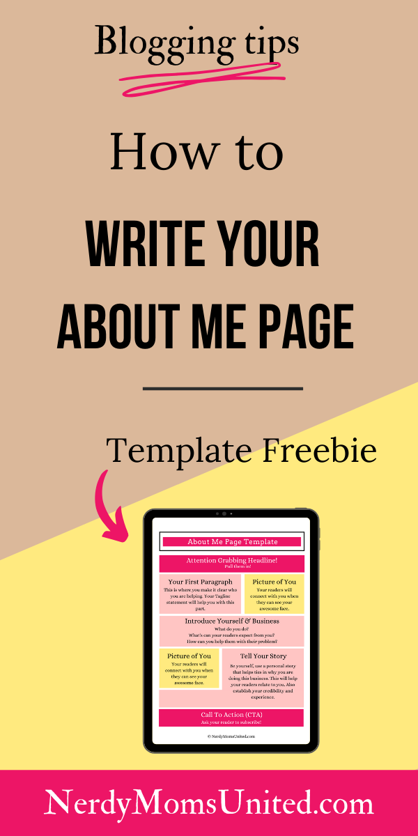 How To Write Your About Me Page Template About Me Page Blogging Basics Page Template