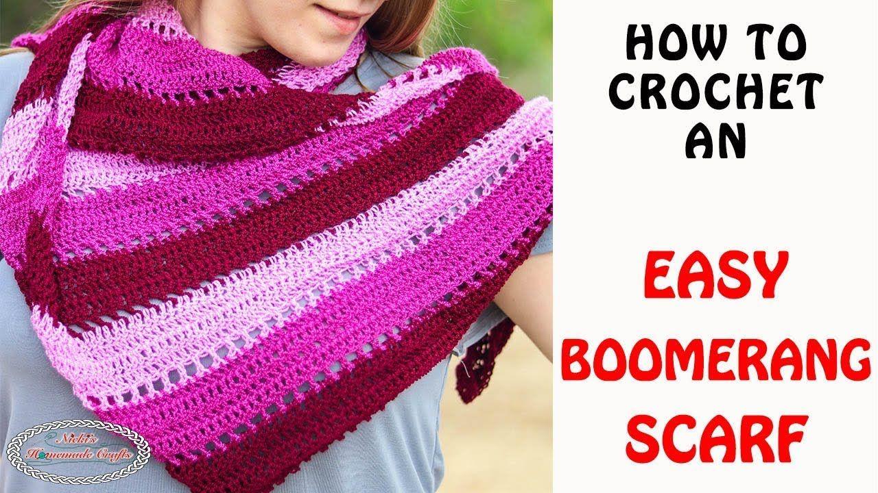 How to Crochet an Easy Boomerang Scarf YouTube Crochet