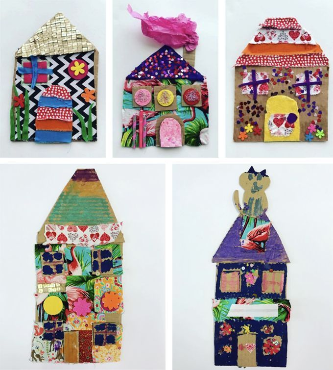 Casas de mosaico con cartón y collage   - Basteln mit Kindern ab 2/3 Jahren -