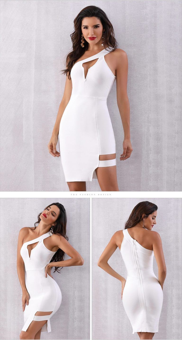 Women Sexy One Shoulder Hollow Out Celebrity Club Party Dress - Bandage dress outfit clubwear, Club party dresses, Sexy club dresses, Mini dress party, Bandage dress outfit, Sexy style outfits - Color  White  	Material  Polyester, Spandex  	Season  Spring, Summer, Autumn, Winter  	Occasion  Formal Evening, Party, Night Out, Cocktail, Runway