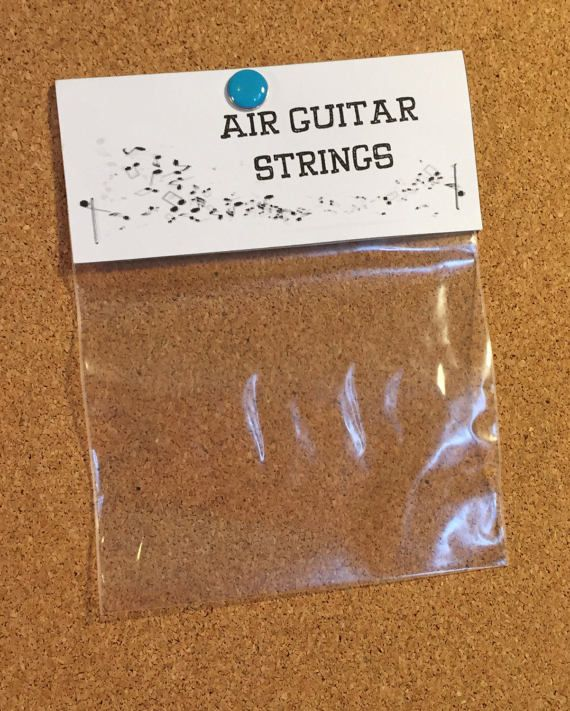 AIR GUITAR STRINGS: Improve your performance with the newly designed set of Air Guitar Strings. Get the crisp airy sound you have been looking for with a new set of strings. Easy to install. Long lasting. Guaranteed to improve your skill level. Note: These strings work with either #funnygifts