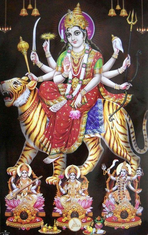 Maa Durga with Maakali Maa Lakshmi and Maa Saraswati