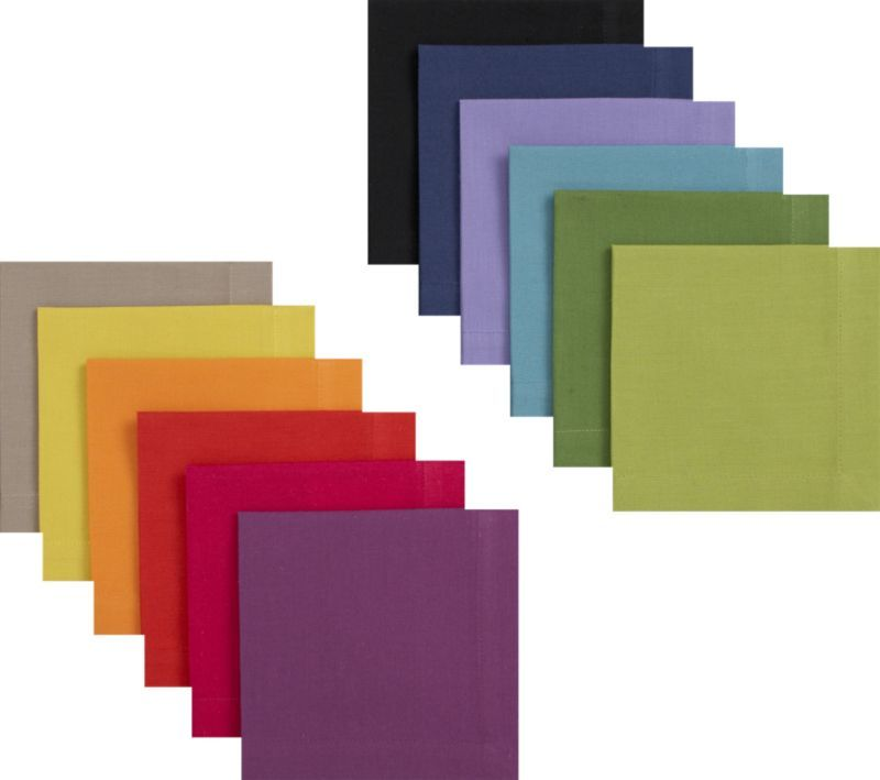Set of 12 Multicolored Cocktail Napkins    Crate and Barrel