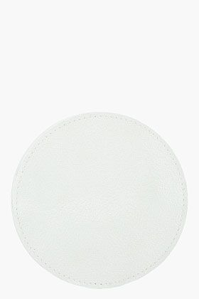 maison martin margiela/ small white iridescent patent leather round change wallet