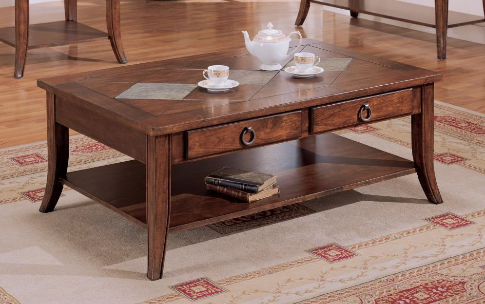 wooden coffee table with slate inserts coffee tables table rh pinterest com
