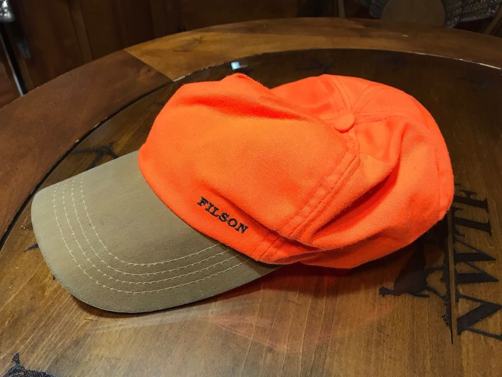 FILSON Blaze Orange Hunting Hat Baseball Cap Style Hat Leather Adj Back  Strap  fashion   a55634d02e9