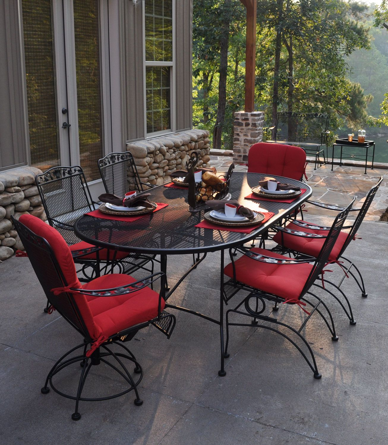 Oval Mesh Wrought Iron Outdoor Dining Table Meadowcraft Home