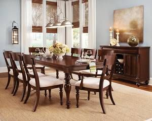 Cherry Wood Dining Room Furniture Table 6 Chairs Set Wood Dining