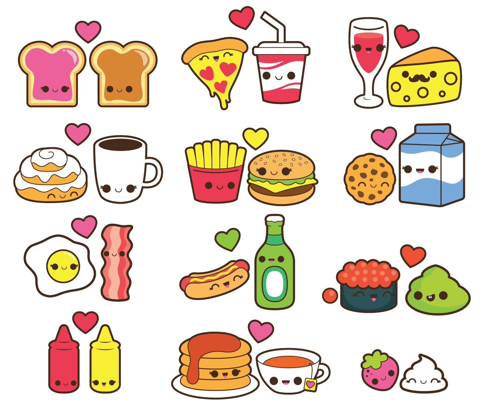Valentine Clipart Kawaii Food Clipart Kawaii Valentines Day Etsy In 2020 Kawaii Valentine Kawaii Drawings Cute Food Drawings
