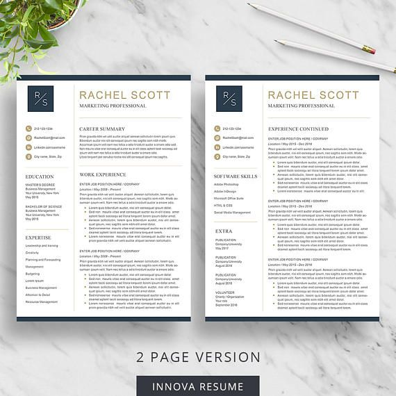 Creative Resume Template for Word, Resume with Initials, CV Template - 2 page resume template