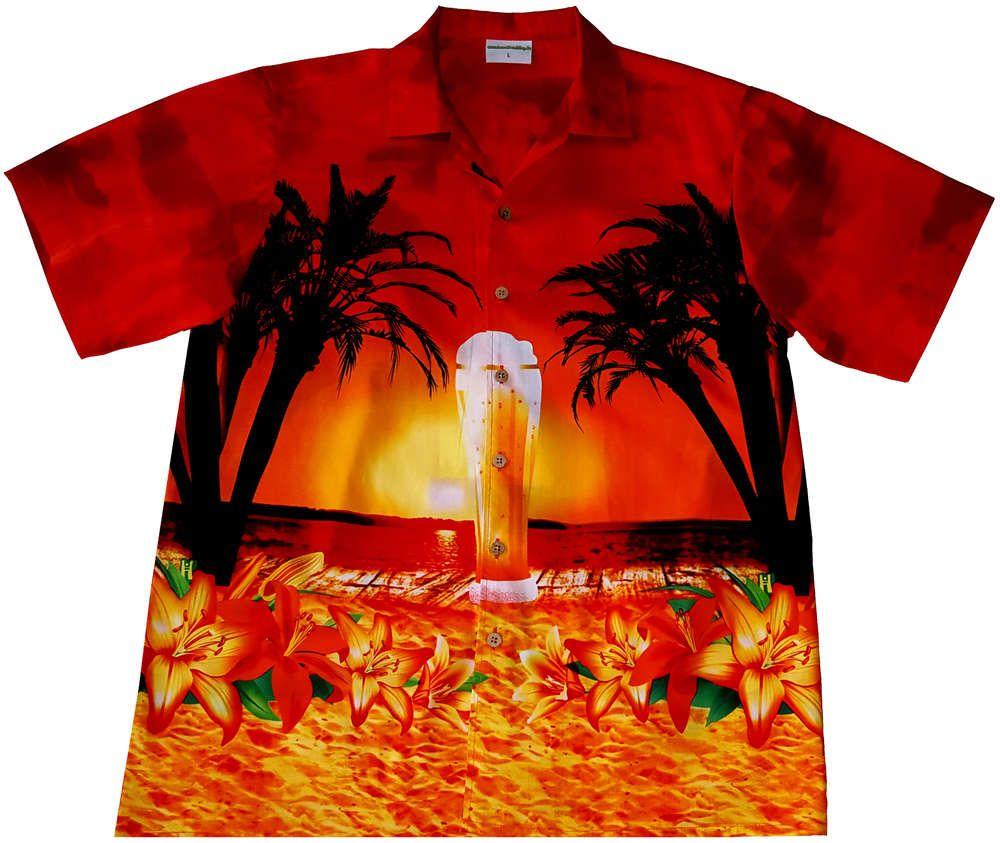 """Hawaiihemd / Hawaii Hemd """"Beer on the Beach"""" / Original Designed von Hawaiihemdshop.de / 100% Baumwolle / Knöpfe aus Kokosnuss"""
