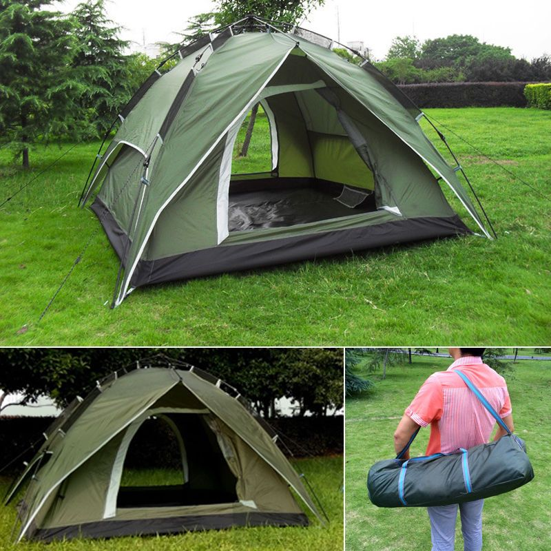 NEW 3 4 Person Green Double Layer Waterproof Family Camping Hiking Instant Tent Ad