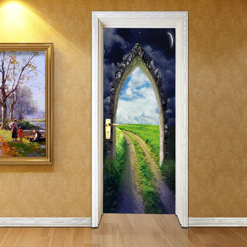 D door sticky grass blue sky stickers living room bedroom door