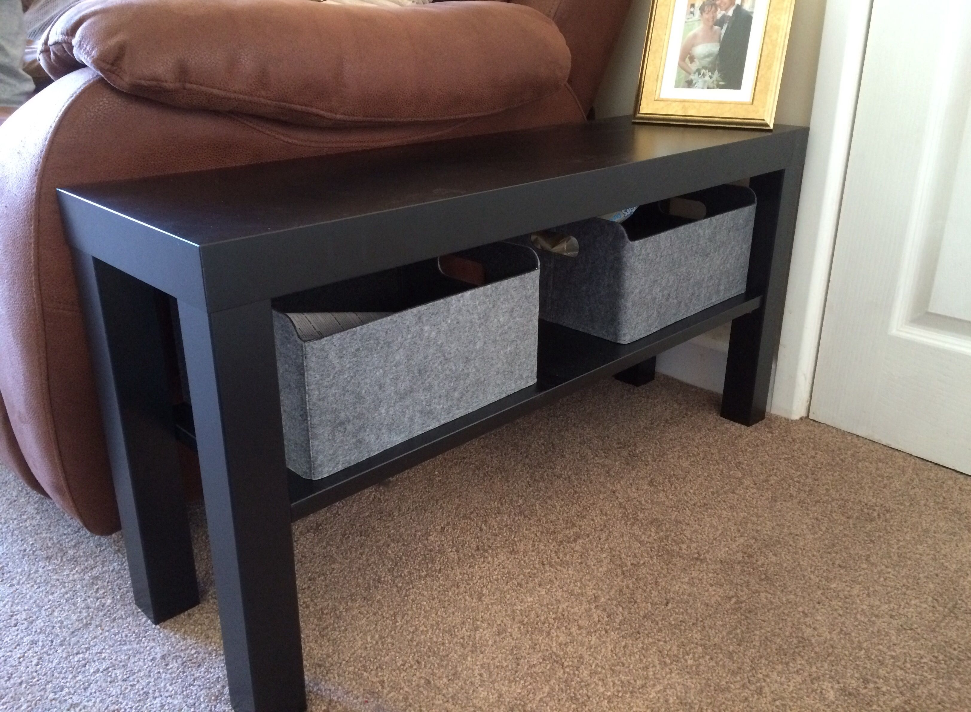 lack sofa table as desk upholstering leather sofas ikea hack tv bench side