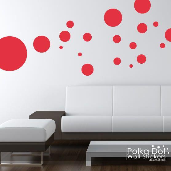 Light red polka dot wall stickers peel and stick over 60 colors