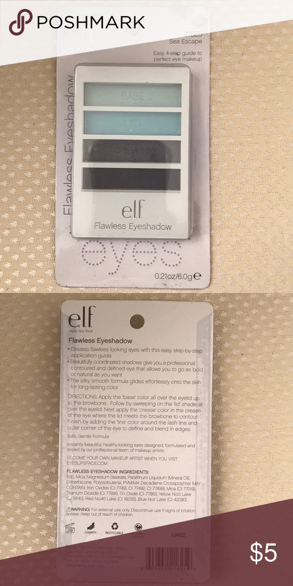 Never Used Or Opened Elf Eyeshadow 4 Different Colors Sea Escape Guide On Where To Put Each Color Makeup Eyeshadow Elf Eyeshadow Elf Makeup Eyeshadow